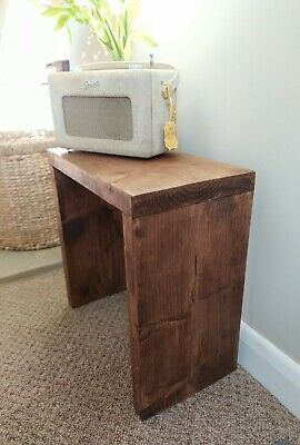 Handmade Side Table Rustic Coffee Solid Wood Cube Lamp Industrial Chic Chunky