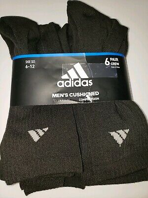 Adidas Men's Athletic Cushioned Crew Socks (6-Pack) Black Climalite Compression