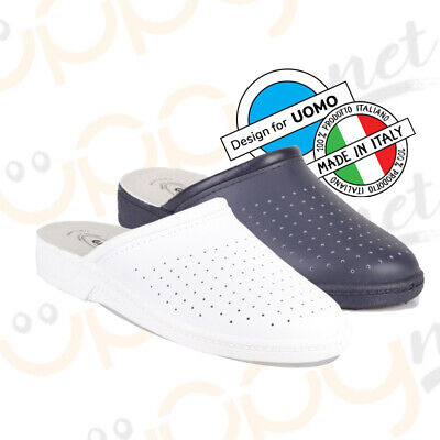 Ciabatte infermiere Uomo pantofole sanitarie Fly dottore pelle Made in ITALY