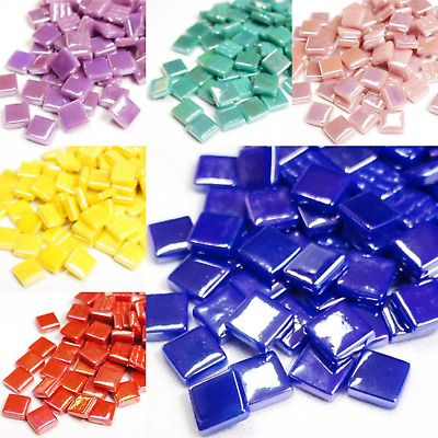 12mm Iridised Mosaic tiles for arts and crafts - Various Colours