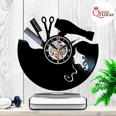 Hairdresser Salon Barber Shop Clock Vinyl Record Wall Art Home Decor Best Gifts