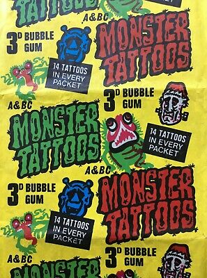A&Bc 3D Monster Tattoos Gum Wax Wrapper *** Sharp Bright Excellent Condition ***