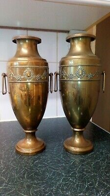 Antique Beldray English Art Nouveau Brass Vases Urns 34cm high