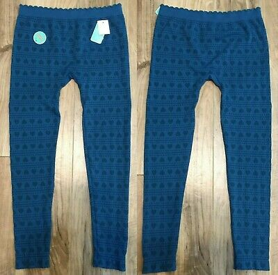 Nwt Copper Key Girls Leggings  Xl 14/16 Heart Print Stretch Teal Blue Green