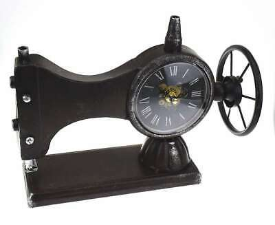 Hometime Metal Mantel Clock - Antique Style Sewing Machine