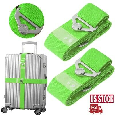 Green Elastic Luggage Strap Adjustable Travel Suitcase Packing Belt Baggage Fixe