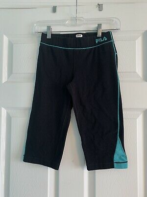 Fila Sport Girls Black Cropped Leggings Size M (10-12)