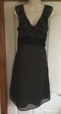 NEXT Black & White Polka Dot Occasion Dress UK 14 BNWT RRP £40.00