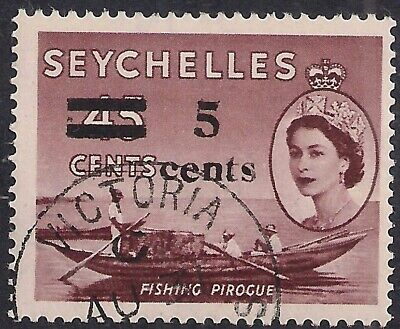 Seychelles 1957 QE2 5ct Ovpt on 45ct Brown SG 191 ( L419 )