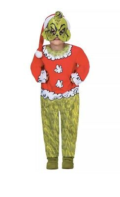 Kids The Grinch Costume Christmas Santa Child Dr Seuss Girls Fancy Dress Age 4-6