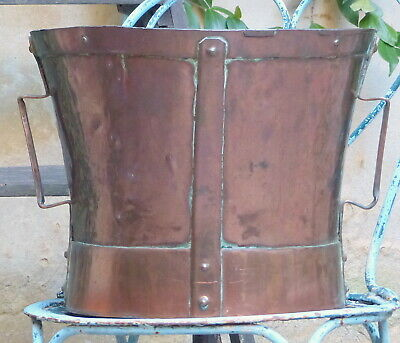 "Late 18th Century 12"" Large Antique French Copper Rustic Pot"