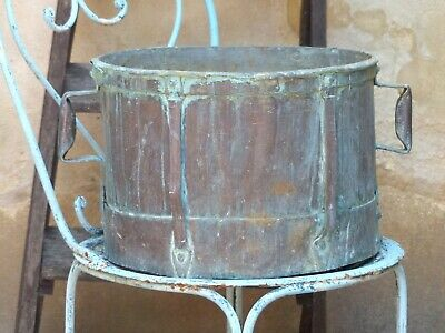 "Late 18th Century 14"" Large Antique French Copper Rustic Pot Garden Blue Patina"