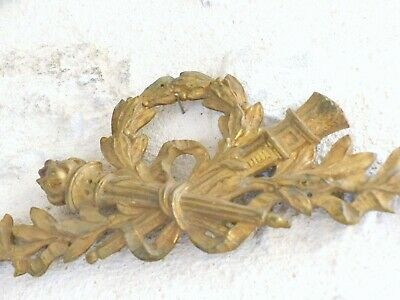 """13"""" Large French Gilded Bronze Louis XV Pediment Hardware Furniture Salvage"""