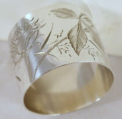 "Antique French Sterling Silver Napkin Ring Art Nouveau 1900 ""Genevieve"""