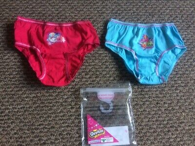 Girls Shopkins Knickers Pack of 2 - Size 3 - 4 years