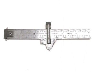 "STARRETT 6"" 604R DOUBLE HOOK RULE w/ 22C DRILL POINT GAGE"