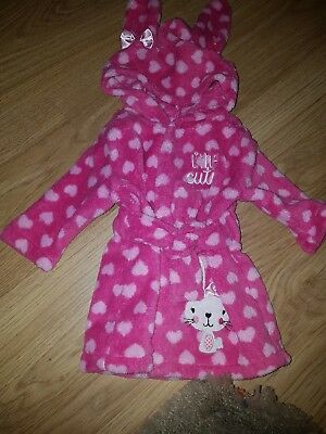 """Baby Peacocks Pink  """"little cutie"""" bunny Dressing Gown.....0-3 months"""
