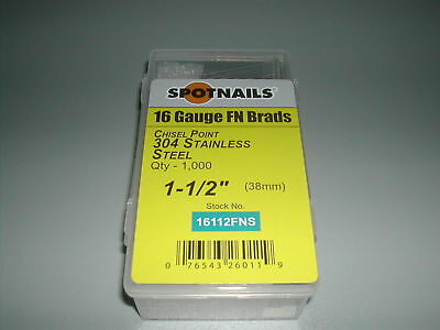 """Spotnails 16112FNS 1-1/2"""" 20 Degree STAINLESS STEEL Finish Nail (8,000)"""