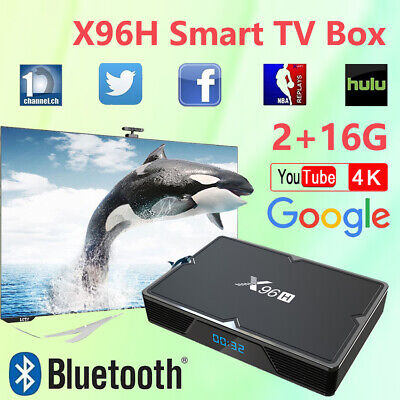 Smart TV Android9.0 3D Box Bluetooth Media Streamers X96H 4K Quad Core WiFi Dual