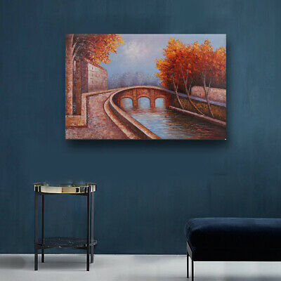 Hand Painted Modern Landscape Oil Painting Abstract Wall Art on Canvas Framed