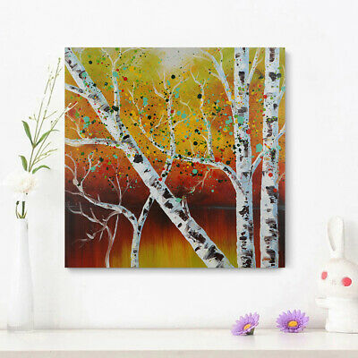 100% Hand-Painted Oil Painting - Birch | Modern Abstract Wall Art Canvas Framed