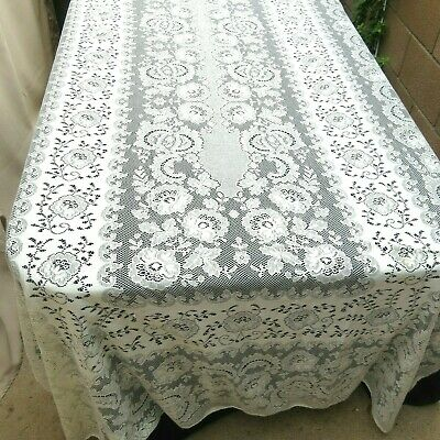 Vintage Quaker Lace Tablecloth 58x115 Beige Cotton Floral
