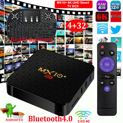 MX10+ 6K 4+32G Android 9.0 Backlit I8 5G WIFI BT4.0 TV BOX 64Bit 3D Media Player