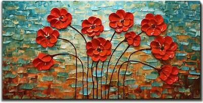 Hand Painted Red Flower Oil Painting Modern Abstract Floral Canvas Wall Art Deco