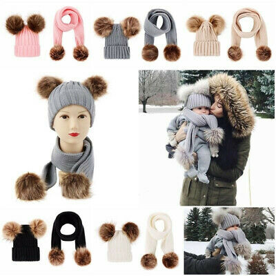 Baby Hats Scarves Girls Boys Hat Bobble Hat Scarf Fleece Lining Warm Set Winter