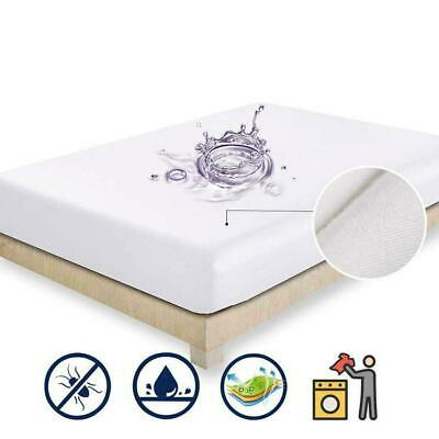 Waterproof Terry Towel Mattress Protector Topper Fitted All Cover Bed Size K2J5