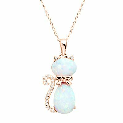 Created Opal & White Sapphire Cat Pendant, 18K Rose Gold-Bonded Sterling Silver