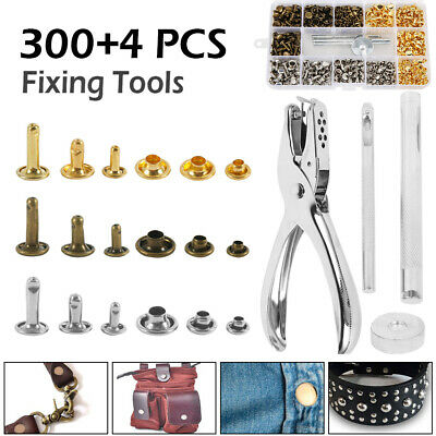 300 Set Leather Double Cap Rivets Tubular Metal Studs Fixing Tool Kit Craft AU