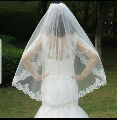 UK 1 Tier Fingertip Length Bridal Lace Appliques Edge Wedding Veil With Comb 38""