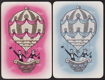 2 Single VINTAGE Swap/Playing Cards PEOPLE BALLOON COUPLE Gold/Silver
