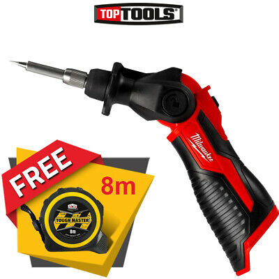 Milwaukee M12SI 12V Cordless Soldering Iron With Free Pocket Tape Measures 8M