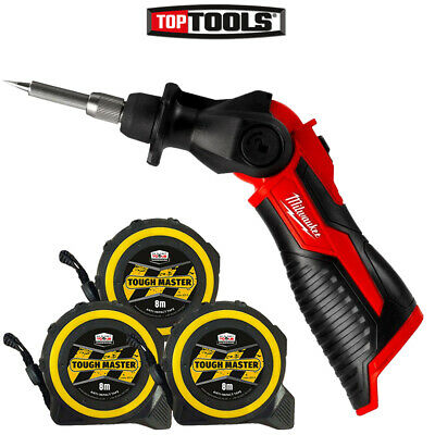 Milwaukee M12SI 12V Cordless Soldering Iron + Pocket Tape Measures 8M/26ft 3Pc