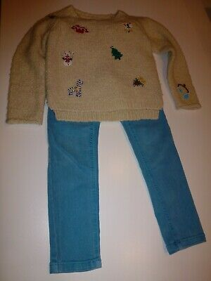 NEXT Girls Cute Christmas Jumper & Jeans - Aged 5 years