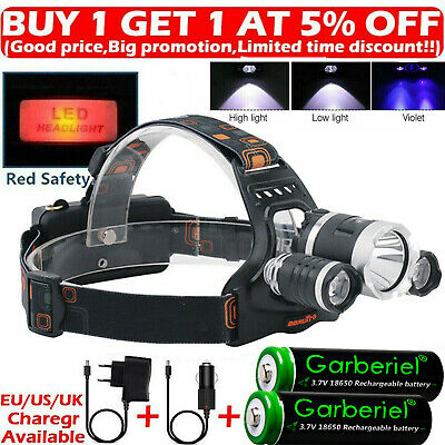 Rechargeable 900000LMS 3 X T6 LED Headlamp Headlight Flashlight Head Torch 18650