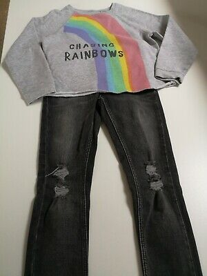 NEXT Girls Distressed Skinny Jeans & Sweatshirt - Aged 8 years