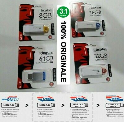 Pendrive Kingston Usb Da 8Gb 16Gb 32Gb 64Gb 128Gb Di Memoria New 3.1