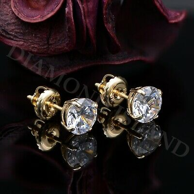 2.00 CT Round Earrings 14K Solid Yellow Gold Basket Studs Brilliant ScrewBack