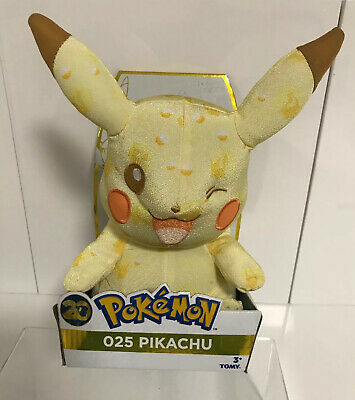 """Pokemon 10"""" 20th Anniversary Pikachu 025 Plush Soft Toy Official Tomy  New Boxed"""