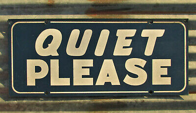 VINTAGE QUIET PLEASE METAL SIGN REFLECTIVE drivein movie recording carnival show
