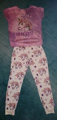 Little Girl's Unicorn Pyjamas. Age 8-9 Excellent Condition