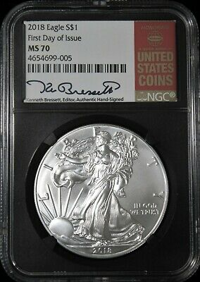 2018 American Silver Eagle  NGC MS-70  First Day Issue Kenneth Bressett Red Book
