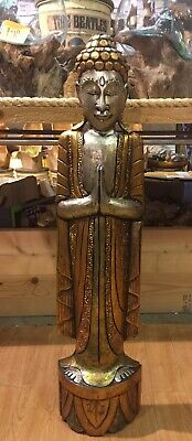 ChiselCraft Large 100cm Hand Painted Buddha Wood Carving Home Decor Art Gold Col