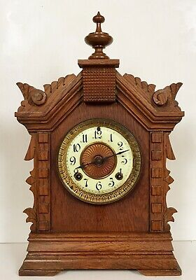 Antique Ansonia Usa Architectural Carved Oak Striking Mantel Bracket Clock
