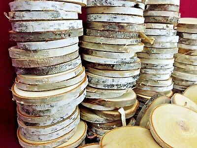 "25 Birch Wood Slices 3 1/2"" Wooden Crafts Wedding Ornaments Coasters Dried"