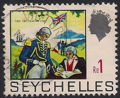 Seychelles 1969 - 75 QE2 1r French Governor & Naval Officer SG 274 ( K1181 )