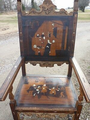 Antique Medieval Throne Chair Intricate Inlaid Design Church Monastery Castle